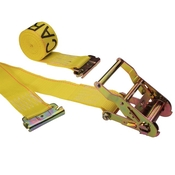 2'' X 12' Yellow E Track Ratchet Straps w/ Spring E-Fittings