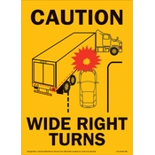Caution Wide Right Turns Sign - 11.5