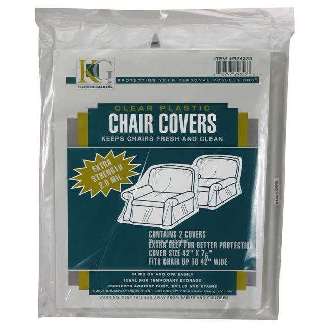 "Plastic Covers for Chairs - 76"" x 42"" Plastic Chair Cover - 2 Pack"