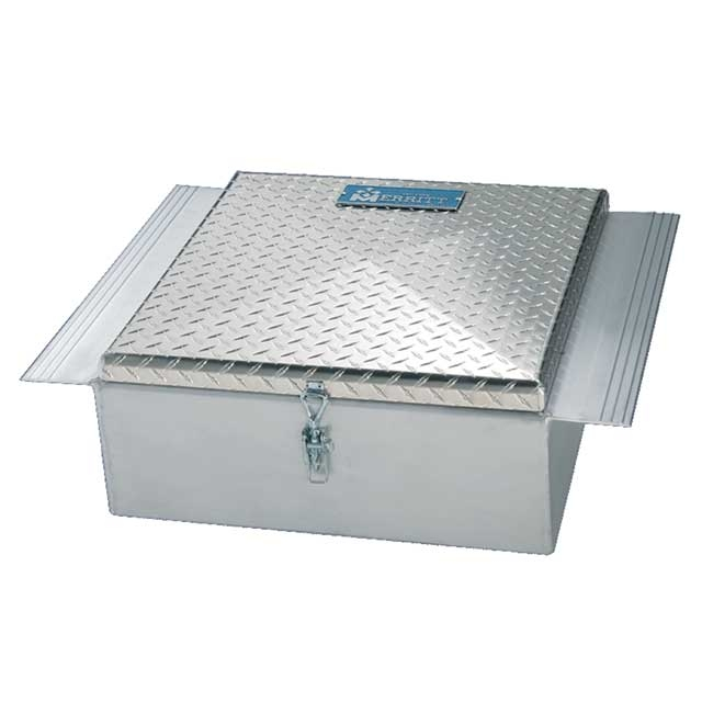 Between the Frame Trailer Tool Box - Diamond Plate Single Lid -22x9x24