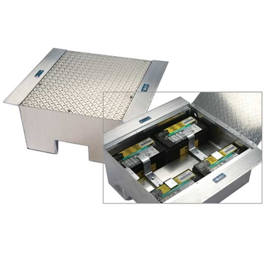 Aluminum Battery Box with Hinged Lid - 12