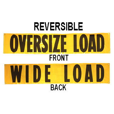 72''x14'' Oversize/Wide Load Vinyl Sign w/ Grommets & Rope Ties