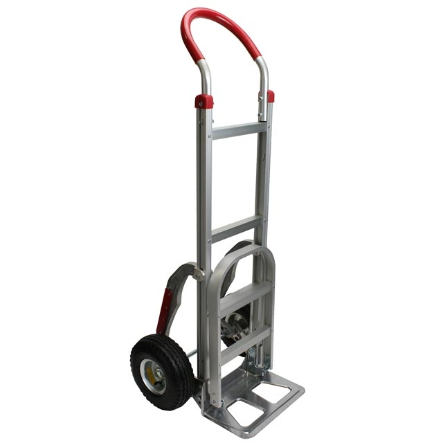 aluminum hand truck with 10 pneumatic wheels and stair climbers - Heavy Duty Hand Truck