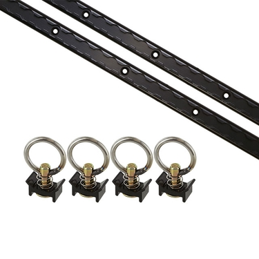 6 Piece 4' L Track Tie Down System- Black