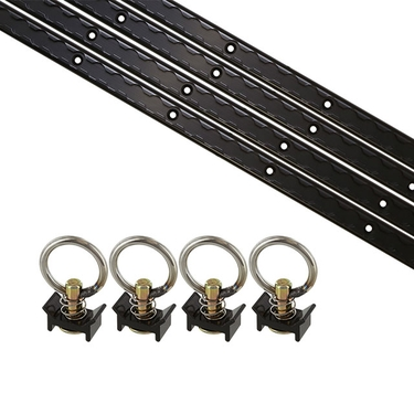 8 Piece 4' L Track Tie Down System- Black