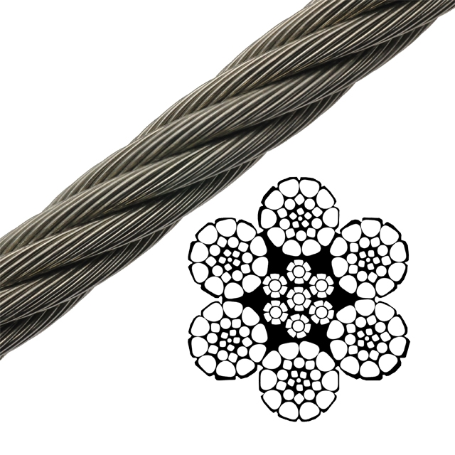Bright Wire Rope EIPS IWRC - 6 x 26 Class - 5/8\