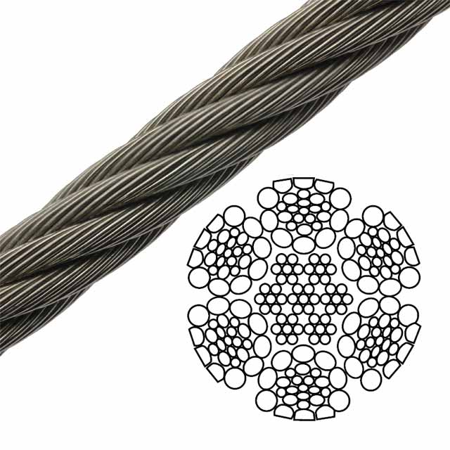 Impact Swaged Bright Wire Rope EIPS IWRC - 6 x 26 Class - 7/8 ...