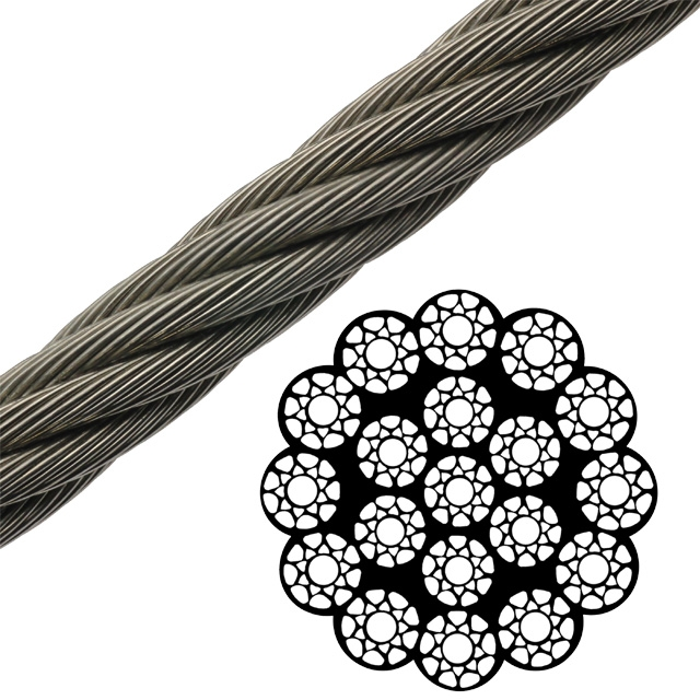 Rotation Resistant Compacted Bright Wire Rope EIPS IWRC - 19 x 19 ...