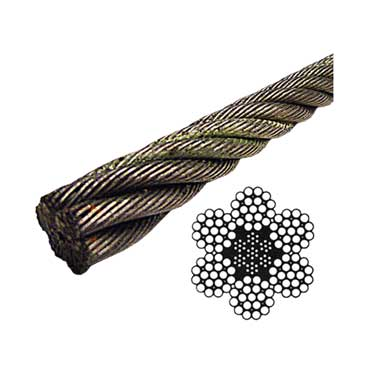 Bright Wire Rope EIPS IWRC - 6x19 Class - 1-3/8