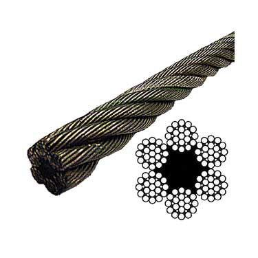 Bright Wire Rope EIPS FC - 6x19 Class - 3/8