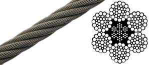 6x37 Bright Wire Rope EIPS IWRC (Steel Core)