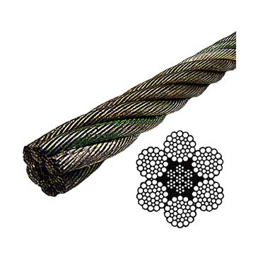 Bright Wire Rope EIPS IWRC - 6x37 Class - 3/8