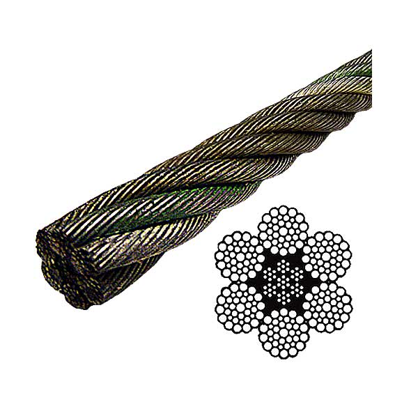 6x37 bright wire rope eips iwrc steel core bright wire rope eips iwrc 6x37 class 716 lineal foot greentooth Images