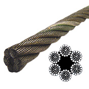 Bright Wire Rope EIPS FC - 6x37 Class - 3/8