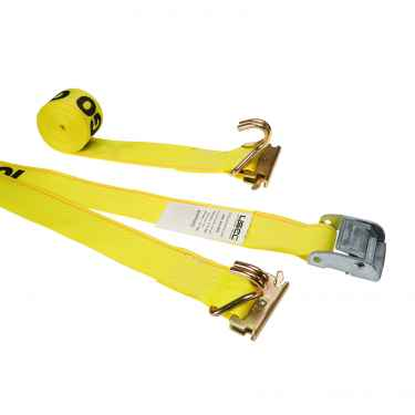 2'' X 12' Yellow E-Track Cam Strap w/Spring E-Fittings and Wire Hooks