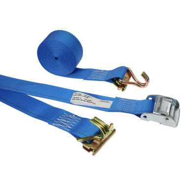 2'' X 20' Blue E-Track Cam Straps w/Spring E-Fittings and Wire Hooks