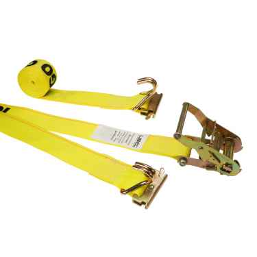 2'' X 12' Yellow E-Track Straps w/Spring E-Fittings and Wire Hooks