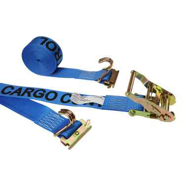 2'' X 20' Blue E-Track Ratchet Straps w/ E-Fittings and Wire Hooks