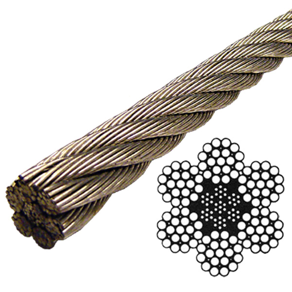 Steel Wire Rope : Stainless steel wire rope class quot lineal foot