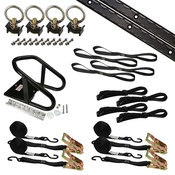 6' Single Tie Down System w/ Wheel Chock - Black image