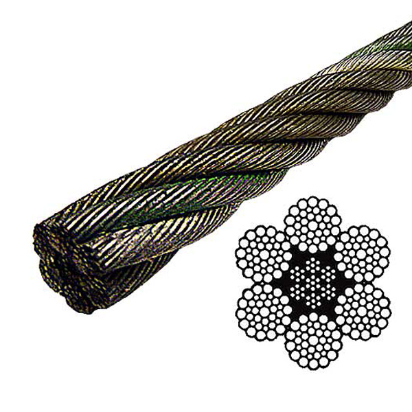 Bright Wire Rope EIPS IWRC : 6x37 Class, 1-1/8\