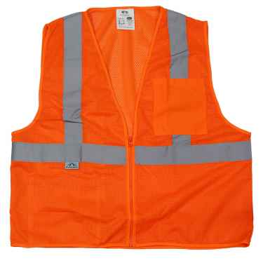 Orange Reflective Safety Vest w/ Zipper - Class 2 Hi Vis Vest - L