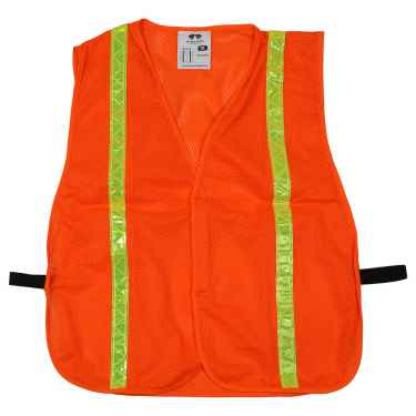 Orange Mesh Reflective Safety Vest - Hi Vis Vest - One Size