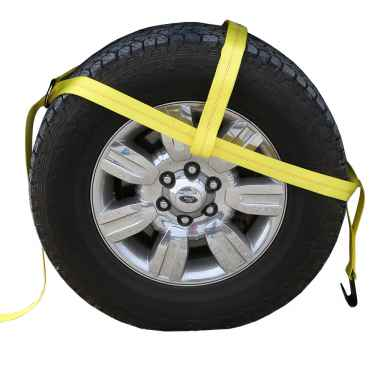 "Yellow Adjustable Tow Dolly Strap with 2"" Top Strap and Flat Hook"