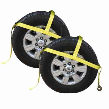 """Yellow Adjustable Tow Dolly Strap with 2"""" Top Strap and Twisted Snap Hook - 2 pack"""