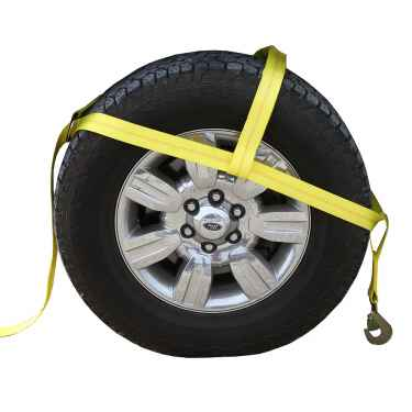 "Yellow Adjustable Tow Dolly Strap with 2"" Top Strap and Twisted Snap Hook"