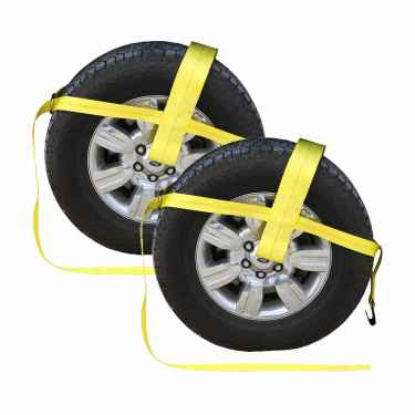 "Yellow Adjustable Tow Dolly Strap with 4"" Top Strap and Flat Hook - 2 pack"