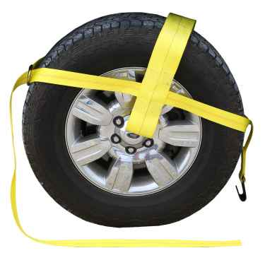 "Yellow Adjustable Tow Dolly Strap with 4"" Top Strap and Flat Hook"