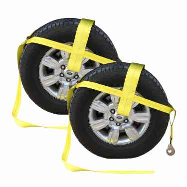"Yellow Adjustable Tow Dolly Strap with 4"" Top Strap and Twisted Snap Hook - 2 pack"