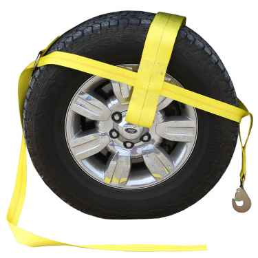 """Yellow Adjustable Tow Dolly Strap with 4"""" Top Strap and Twisted Snap Hook"""
