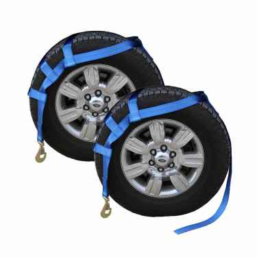 Blue Extra Large Tow Dolly Basket Strap with Twisted Snap Hooks - 2 pack
