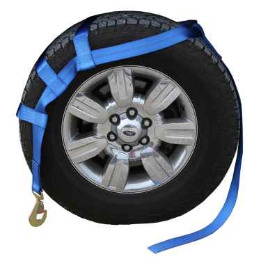 Blue Extra Large Tow Dolly Basket Strap with Twisted Snap Hooks