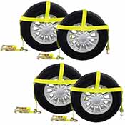 Car Carrier Tire Holder Basket Straps w/ Swivel Hooks & Ratchet - 4 Pack image