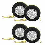 Car Carrier Tire Wheel Strap w/ Wire Hooks & Ratchet - 4 Pack image