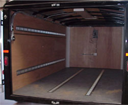 Horizontal E track installed on floor and sides of a trailer